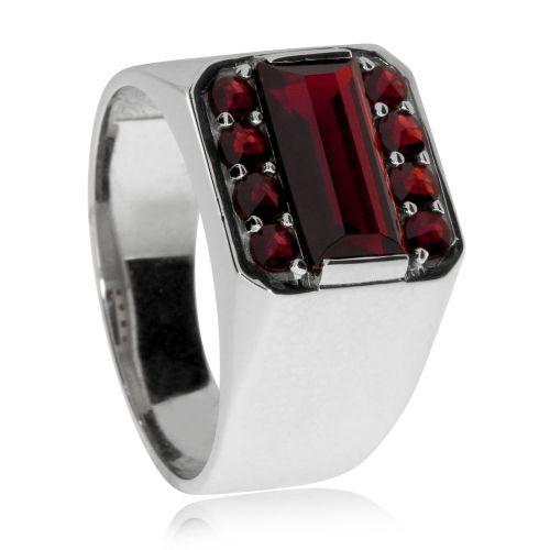 PHOENIX - pánsky pečatný prsteň - drahokamy  Granáty - striebro 925 0e6156f9065