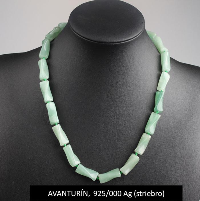 6368e3cd1 ARRIOL-dámsky strieborný náhrdelník z AVANTURÍNU - (striebro 925/000)-Váha:  55g